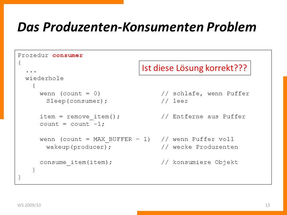 Das Produzenten-Konsumenten Problem WS 2009/1013 Prozedur consumer {... wiederhole { wenn (count = 0)// schlafe, wenn Puffer Sleep(consumer);// leer i