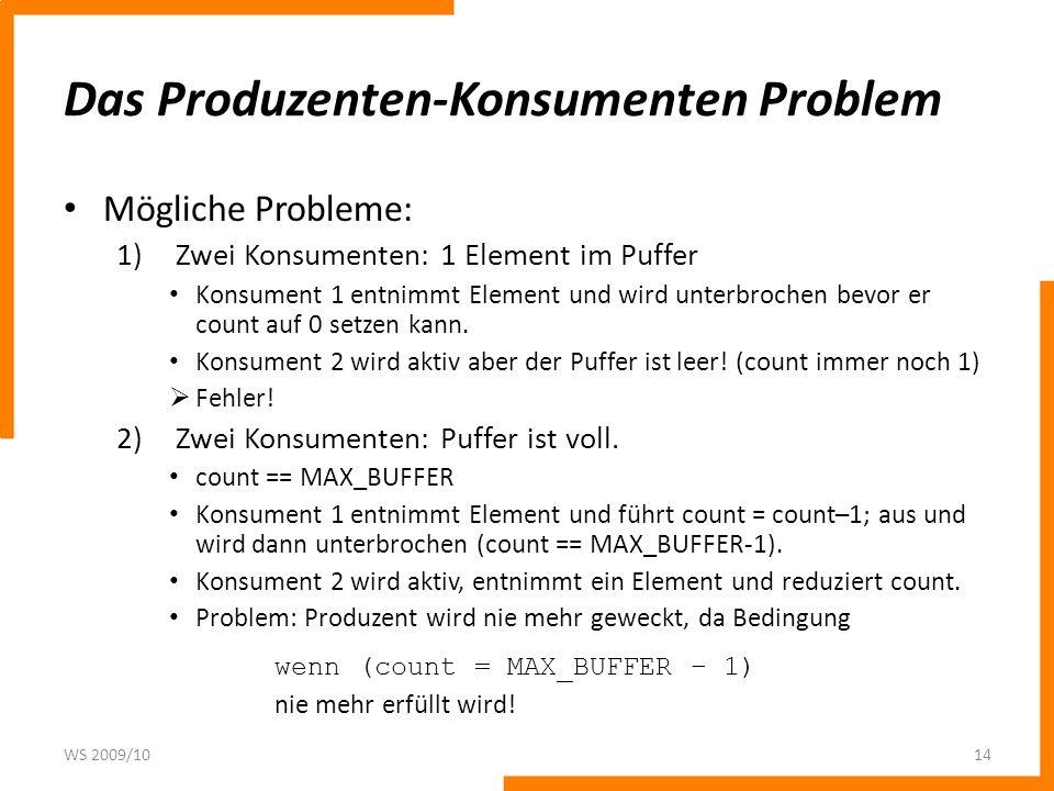 Das Produzenten-Konsumenten Problem Mögliche Probleme: 1)Zwei Konsumenten: 1 Element im Puffer Konsument 1 entnimmt Element und wird unterbrochen bevo