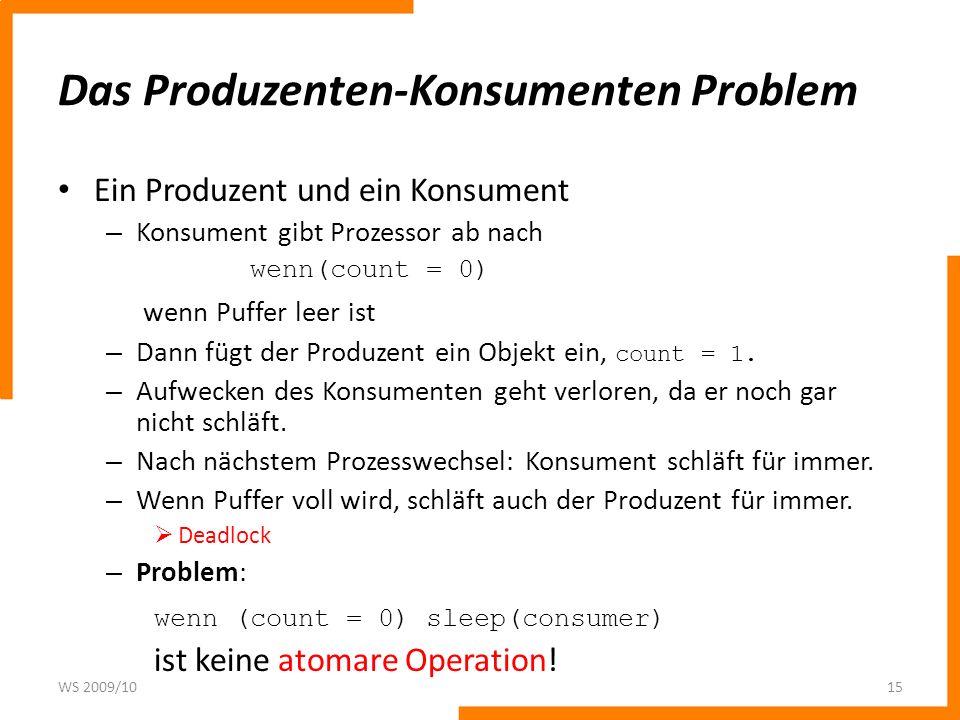 Das Produzenten-Konsumenten Problem Ein Produzent und ein Konsument – Konsument gibt Prozessor ab nach wenn(count = 0) wenn Puffer leer ist – Dann füg