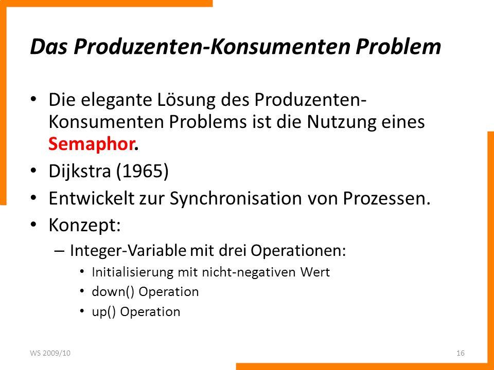 Das Produzenten-Konsumenten Problem Die elegante Lösung des Produzenten- Konsumenten Problems ist die Nutzung eines Semaphor. Dijkstra (1965) Entwicke