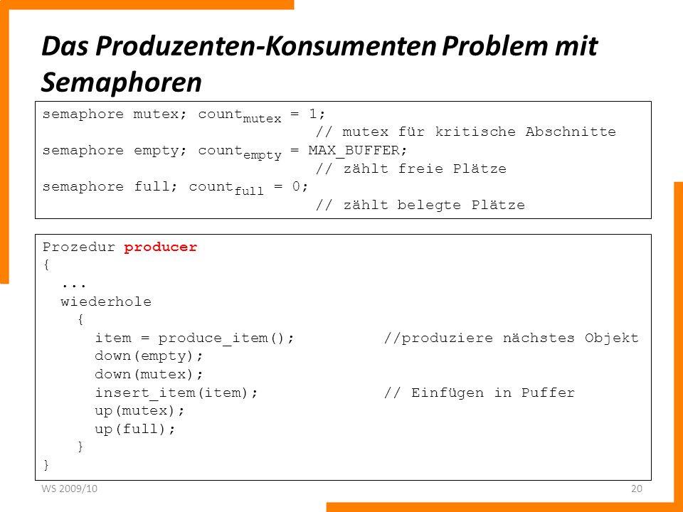 Das Produzenten-Konsumenten Problem mit Semaphoren WS 2009/1020 Prozedur producer {... wiederhole { item = produce_item();//produziere nächstes Objekt