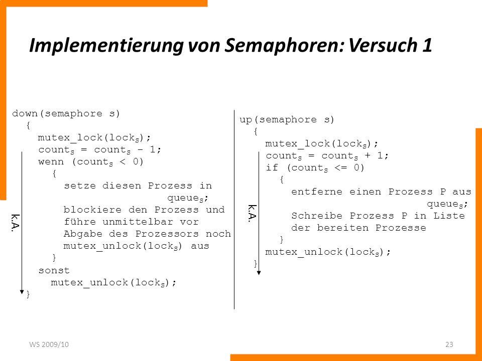 Implementierung von Semaphoren: Versuch 1 WS 2009/1023 down(semaphore s) { mutex_lock(lock S ); count S = count S - 1; wenn (count S < 0) { setze dies