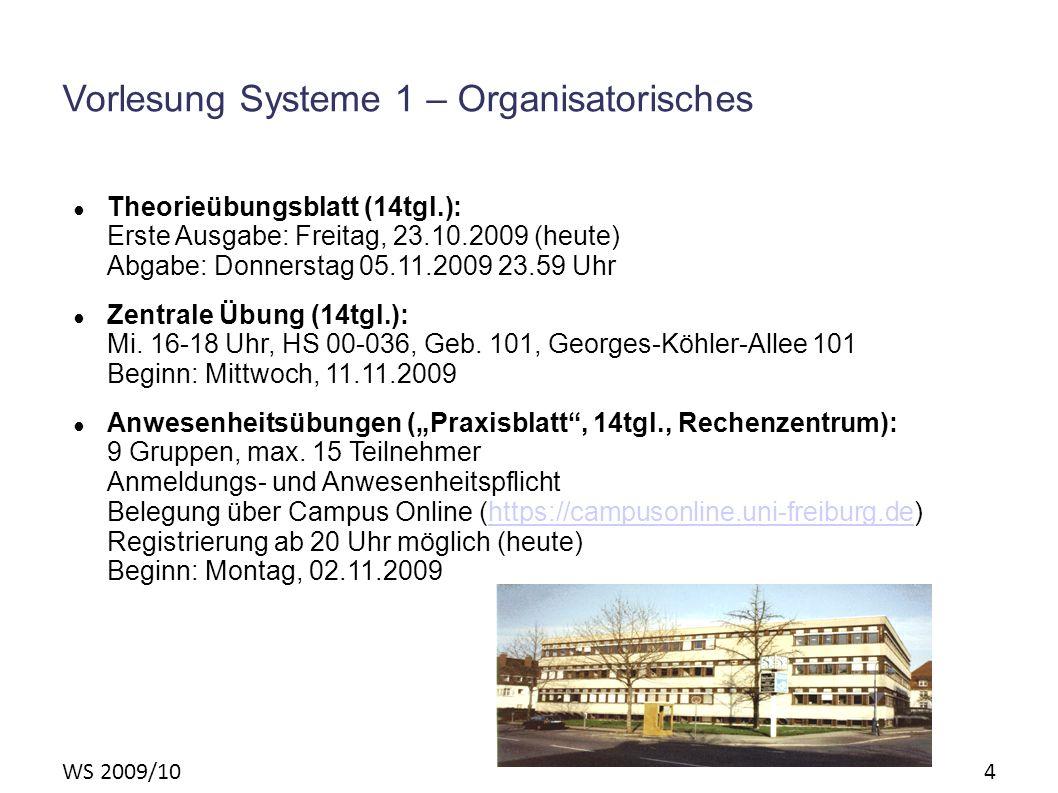 WS 2009/10 4 Vorlesung Systeme 1 – Organisatorisches Theorieübungsblatt (14tgl.): Erste Ausgabe: Freitag, 23.10.2009 (heute) Abgabe: Donnerstag 05.11.