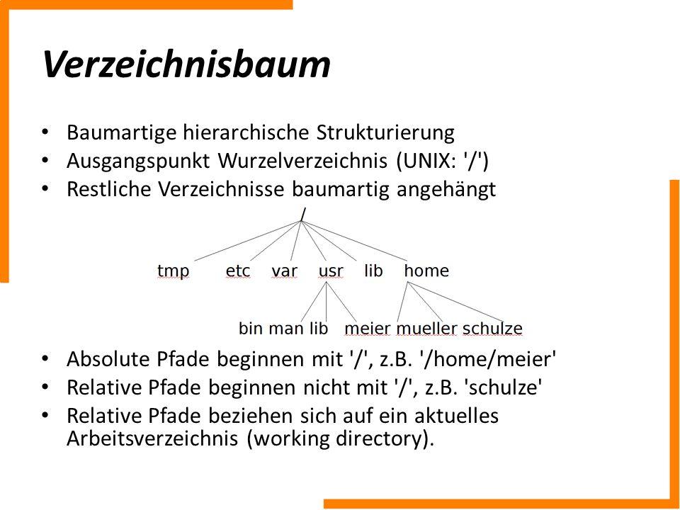 Verzeichnisbaum Baumartige hierarchische Strukturierung Ausgangspunkt Wurzelverzeichnis (UNIX: '/') Restliche Verzeichnisse baumartig angehängt Absolu