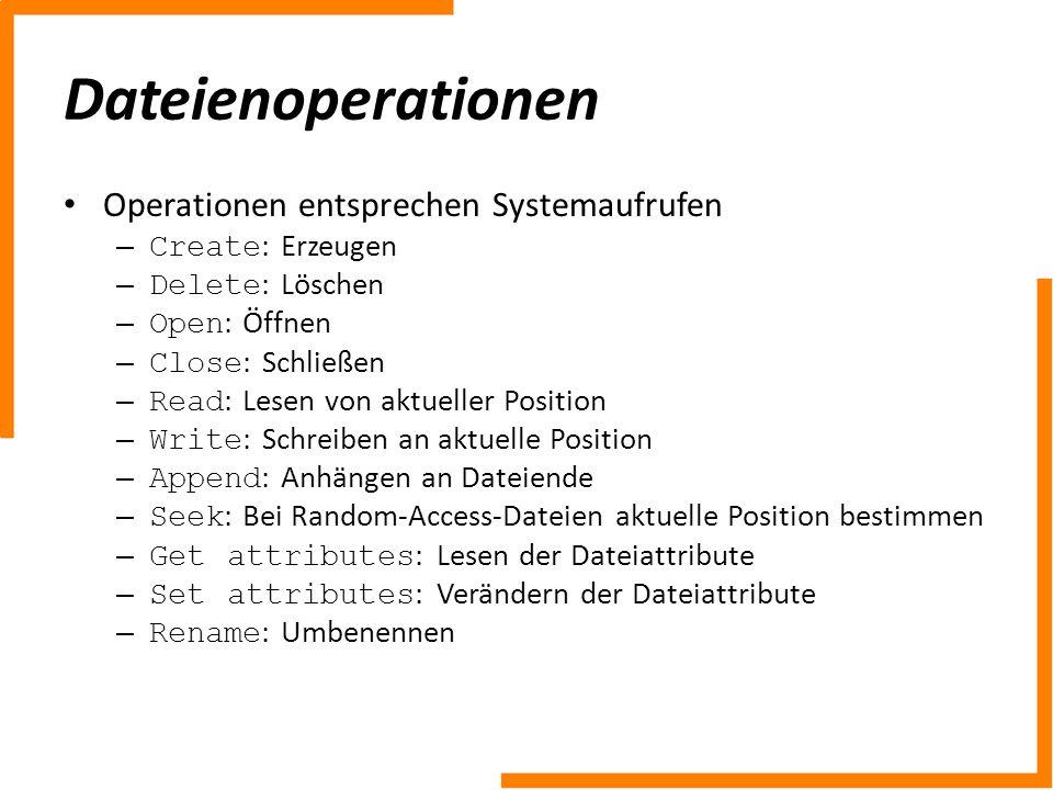 Dateienoperationen Operationen entsprechen Systemaufrufen – Create : Erzeugen – Delete : Löschen – Open : Öffnen – Close : Schließen – Read : Lesen vo