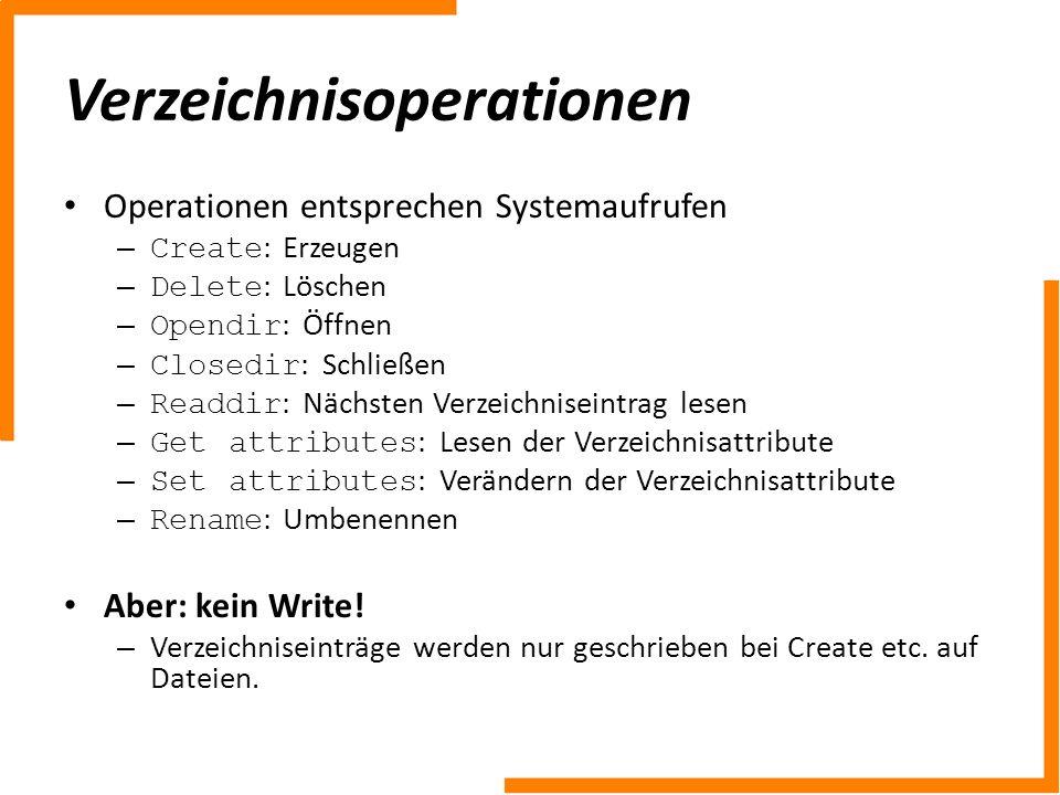 Verzeichnisoperationen Operationen entsprechen Systemaufrufen – Create : Erzeugen – Delete : Löschen – Opendir : Öffnen – Closedir : Schließen – Readd