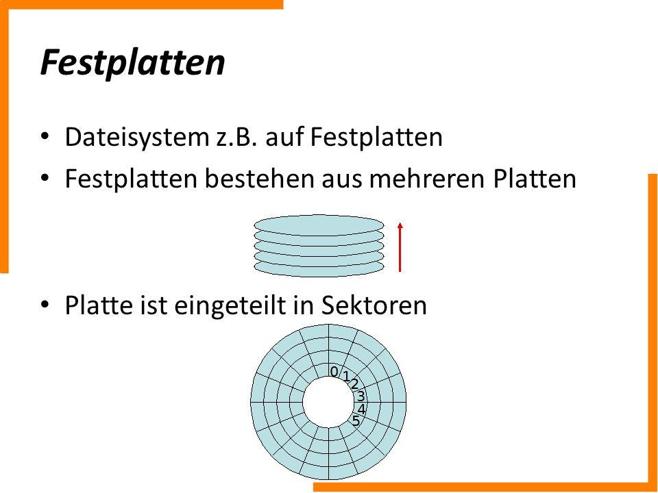 Festplatten Dateisystem z.B. auf Festplatten Festplatten bestehen aus mehreren Platten Platte ist eingeteilt in Sektoren