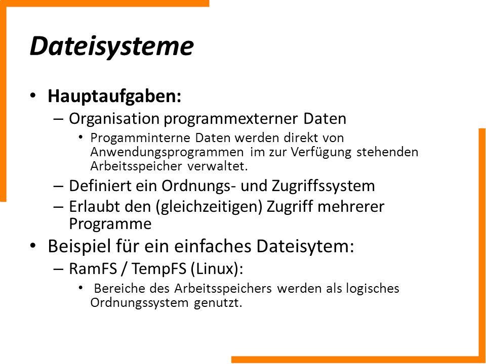 Hauptaufgaben: – Organisation programmexterner Daten Progamminterne Daten werden direkt von Anwendungsprogrammen im zur Verfügung stehenden Arbeitsspe