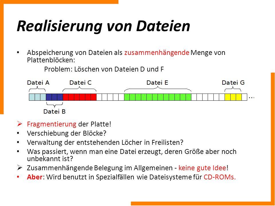 Realisierung von Dateien Abspeicherung von Dateien als zusammenhängende Menge von Plattenblöcken: Problem: Löschen von Dateien D und F Fragmentierung