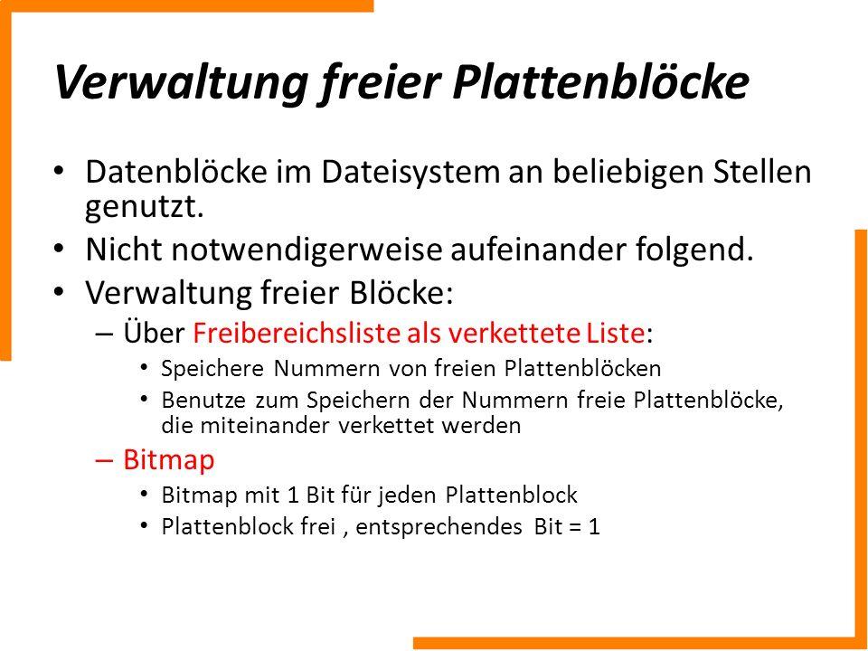 Verwaltung freier Plattenblöcke Datenblöcke im Dateisystem an beliebigen Stellen genutzt. Nicht notwendigerweise aufeinander folgend. Verwaltung freie