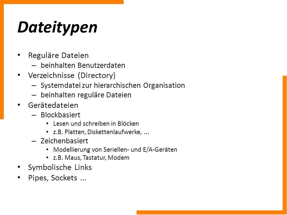Dateitypen Reguläre Dateien – beinhalten Benutzerdaten Verzeichnisse (Directory) – Systemdatei zur hierarchischen Organisation – beinhalten reguläre D