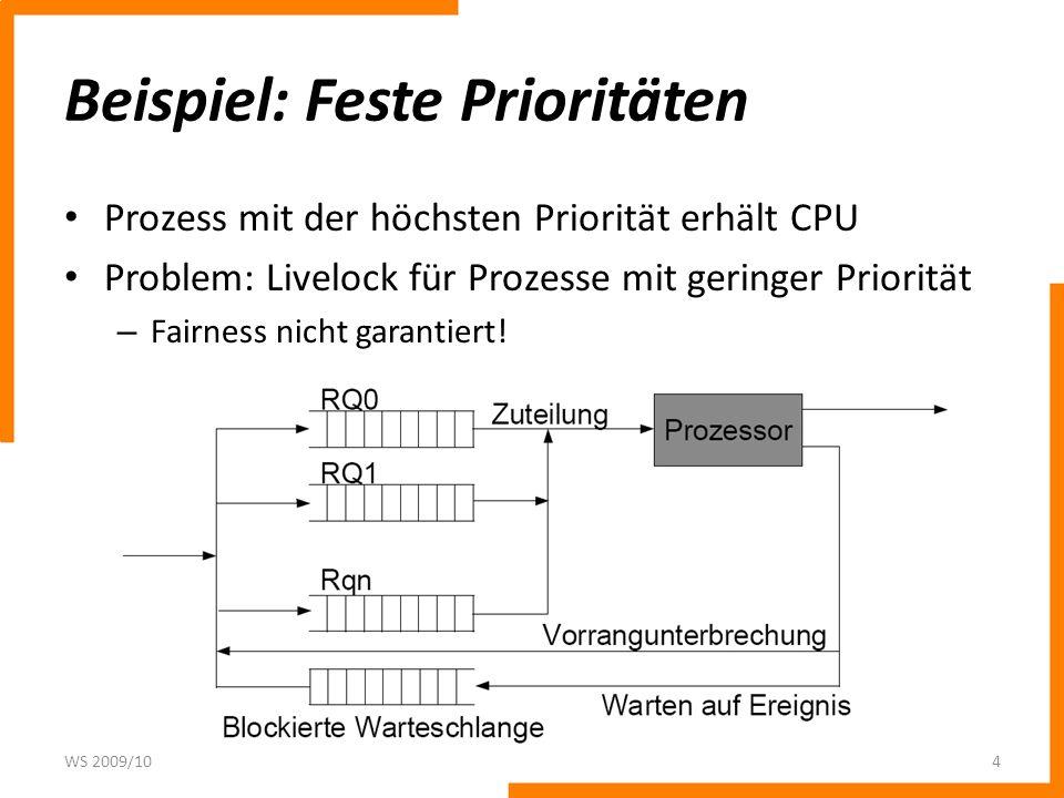 Beispiel: Feste Prioritäten Prozess mit der höchsten Priorität erhält CPU Problem: Livelock für Prozesse mit geringer Priorität – Fairness nicht garantiert.