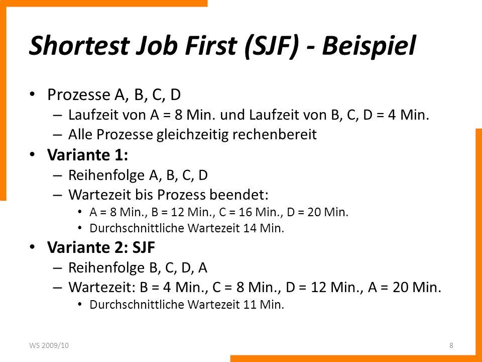 Shortest Job First (SJF) - Beispiel Prozesse A, B, C, D – Laufzeit von A = 8 Min.