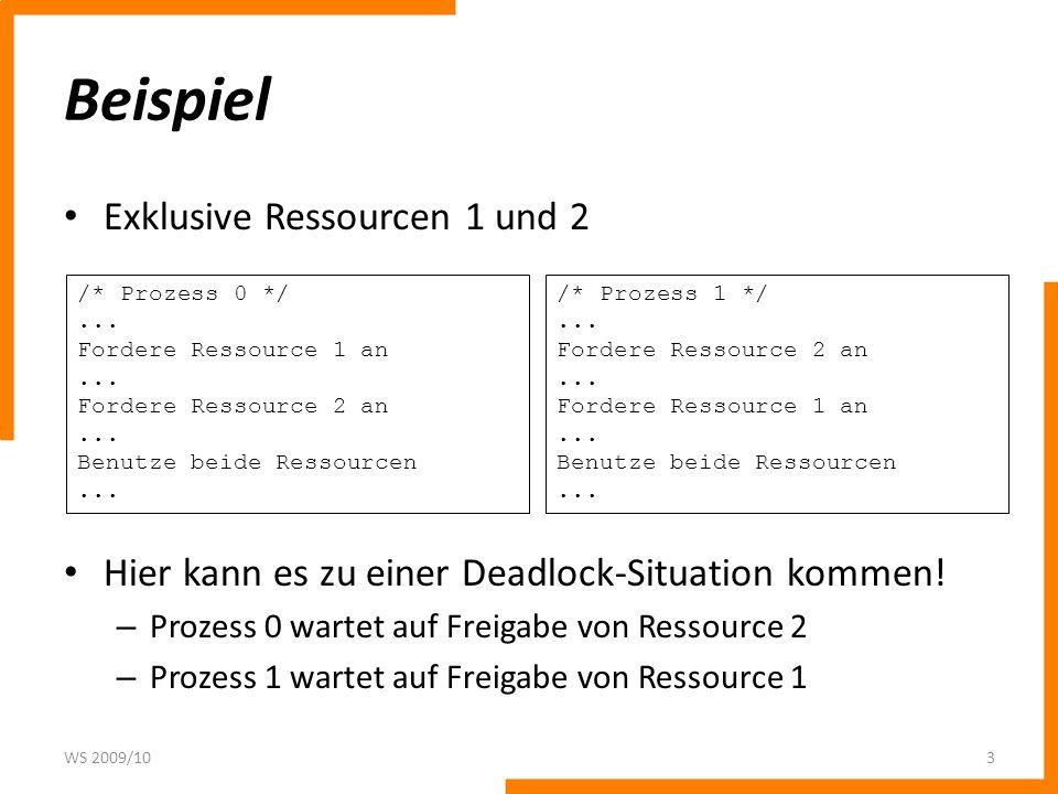 Beispiel Exklusive Ressourcen 1 und 2 Hier kann es zu einer Deadlock-Situation kommen! – Prozess 0 wartet auf Freigabe von Ressource 2 – Prozess 1 war