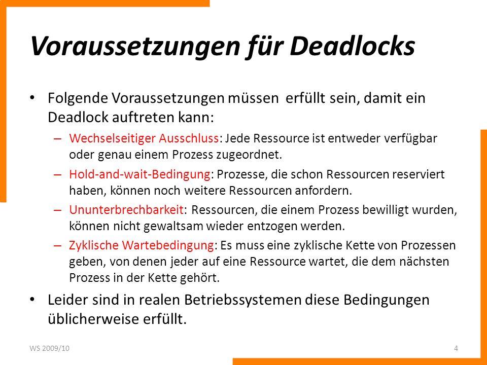 Voraussetzungen für Deadlocks Folgende Voraussetzungen müssen erfüllt sein, damit ein Deadlock auftreten kann: – Wechselseitiger Ausschluss: Jede Ress