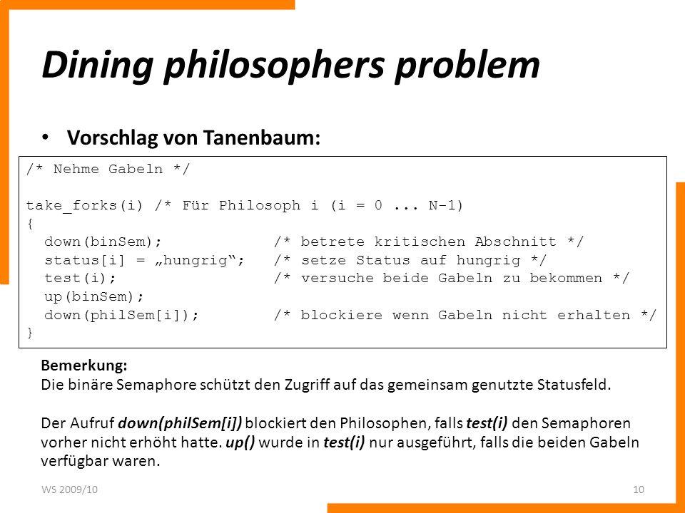 Dining philosophers problem Vorschlag von Tanenbaum: WS 2009/1010 /* Nehme Gabeln */ take_forks(i) /* Für Philosoph i (i = 0... N-1) { down(binSem); /