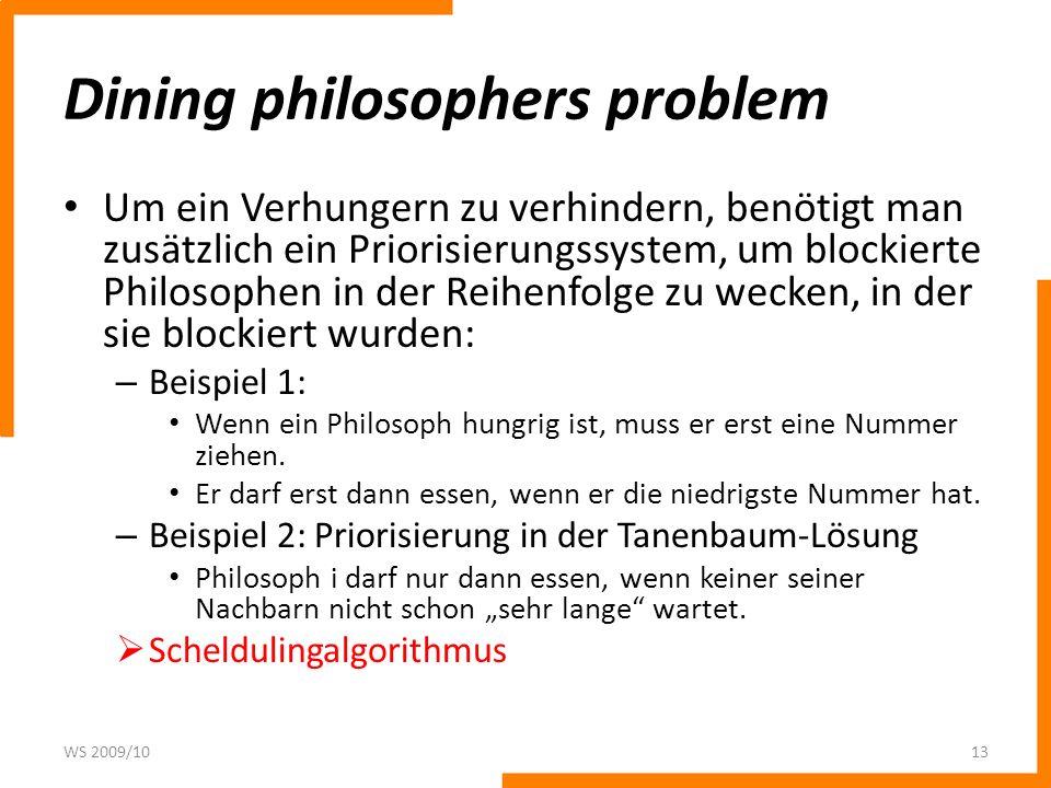 Dining philosophers problem Um ein Verhungern zu verhindern, benötigt man zusätzlich ein Priorisierungssystem, um blockierte Philosophen in der Reihen