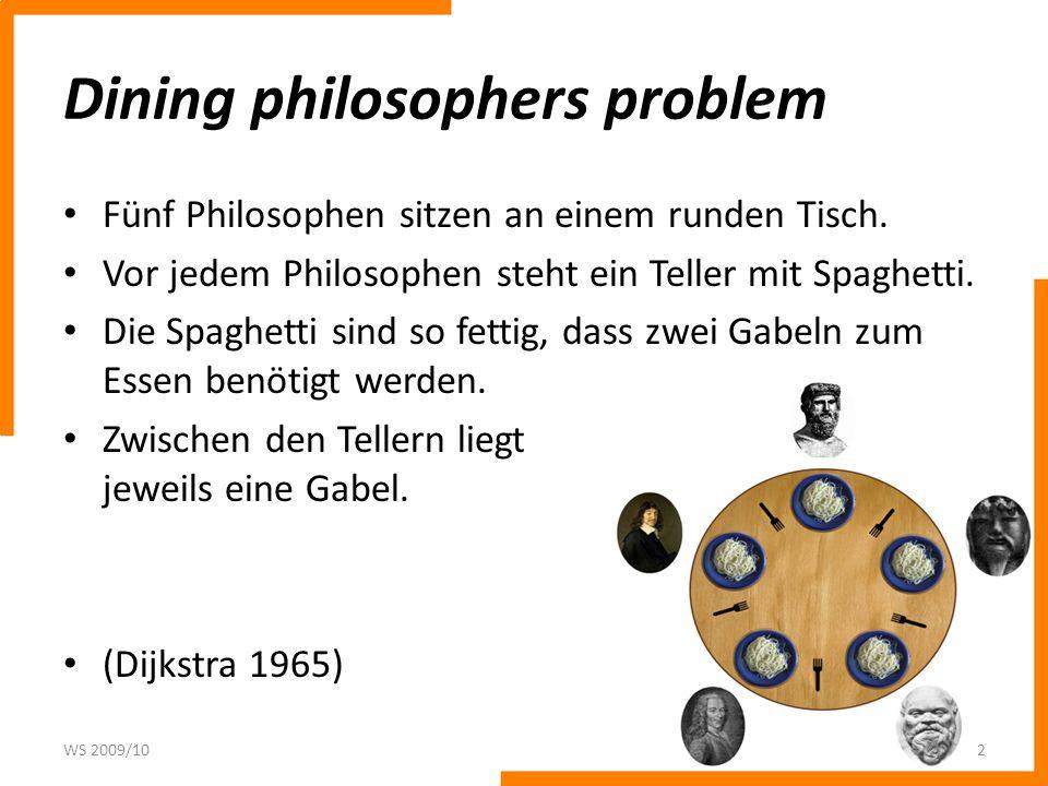 Dining philosophers problem Fünf Philosophen sitzen an einem runden Tisch. Vor jedem Philosophen steht ein Teller mit Spaghetti. Die Spaghetti sind so