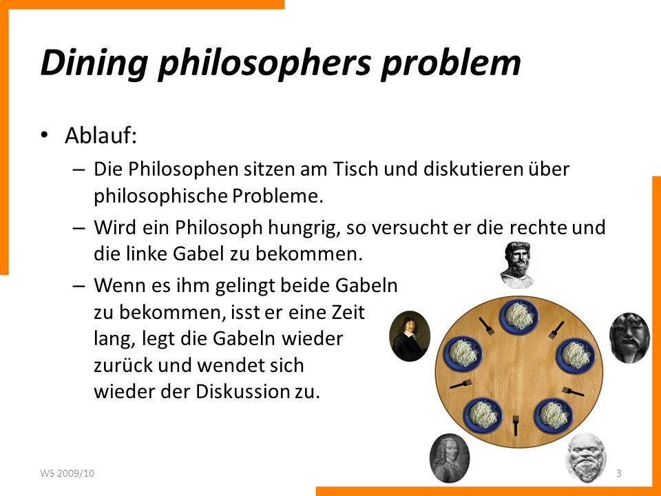 Dining philosophers problem Ablauf: – Die Philosophen sitzen am Tisch und diskutieren über philosophische Probleme. – Wird ein Philosoph hungrig, so v