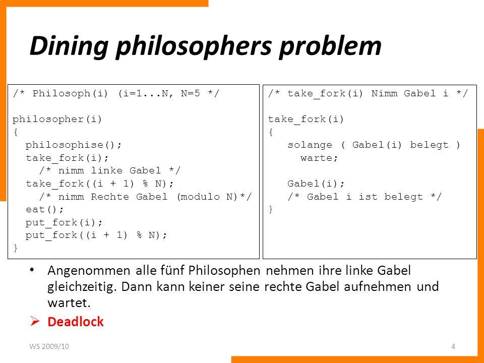 Dining philosophers problem Angenommen alle fünf Philosophen nehmen ihre linke Gabel gleichzeitig. Dann kann keiner seine rechte Gabel aufnehmen und w