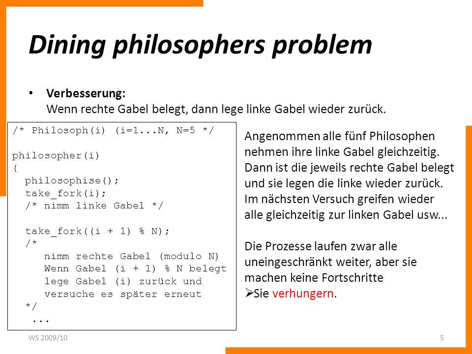 Dining philosophers problem Verbesserung: Wenn rechte Gabel belegt, dann lege linke Gabel wieder zurück. WS 2009/105 /* Philosoph(i) (i=1...N, N=5 */