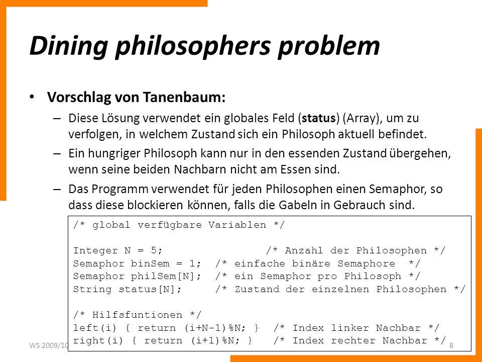 Dining philosophers problem Vorschlag von Tanenbaum: – Diese Lösung verwendet ein globales Feld (status) (Array), um zu verfolgen, in welchem Zustand