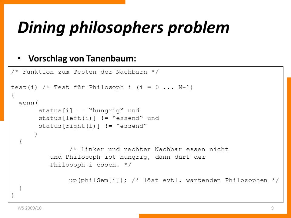 Dining philosophers problem Vorschlag von Tanenbaum: WS 2009/109 /* Funktion zum Testen der Nachbarn */ test(i) /* Test für Philosoph i (i = 0... N-1)