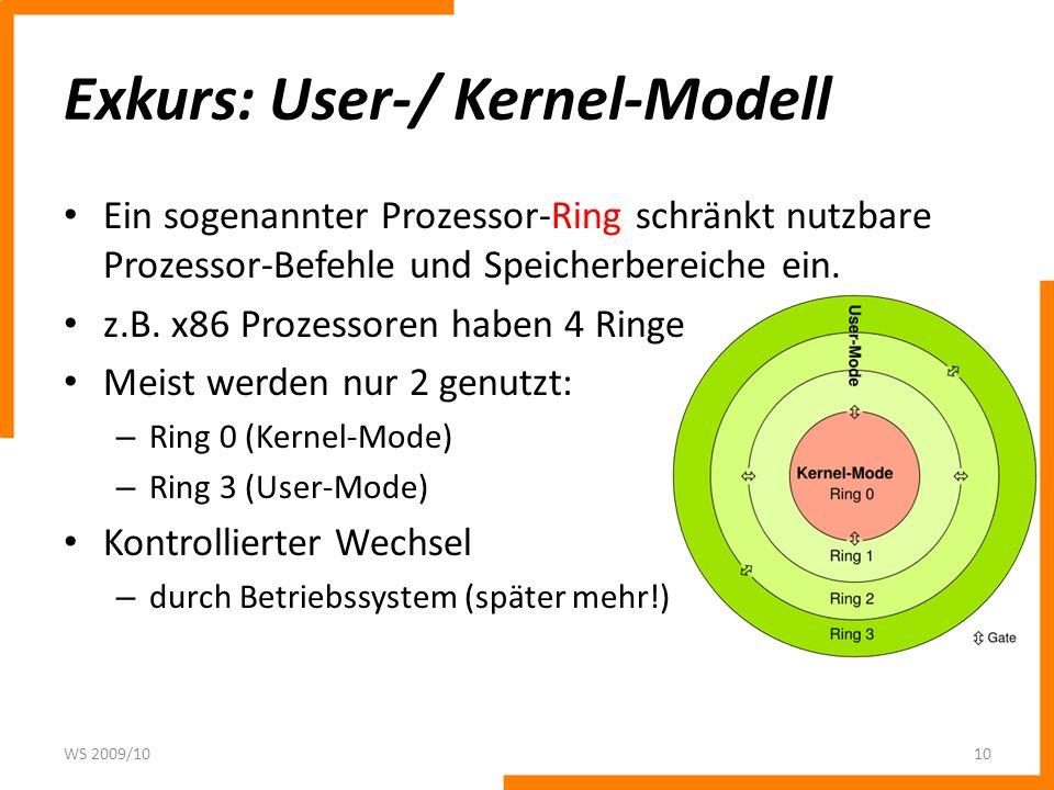 Exkurs: User-/ Kernel-Modell Ein sogenannter Prozessor-Ring schränkt nutzbare Prozessor-Befehle und Speicherbereiche ein. z.B. x86 Prozessoren haben 4