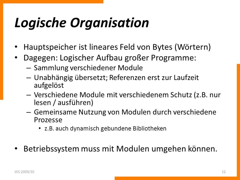 Logische Organisation Hauptspeicher ist lineares Feld von Bytes (Wörtern) Dagegen: Logischer Aufbau großer Programme: – Sammlung verschiedener Module