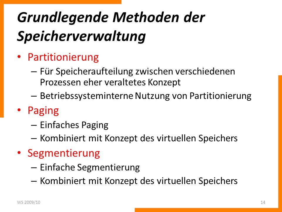 Grundlegende Methoden der Speicherverwaltung Partitionierung – Für Speicheraufteilung zwischen verschiedenen Prozessen eher veraltetes Konzept – Betri