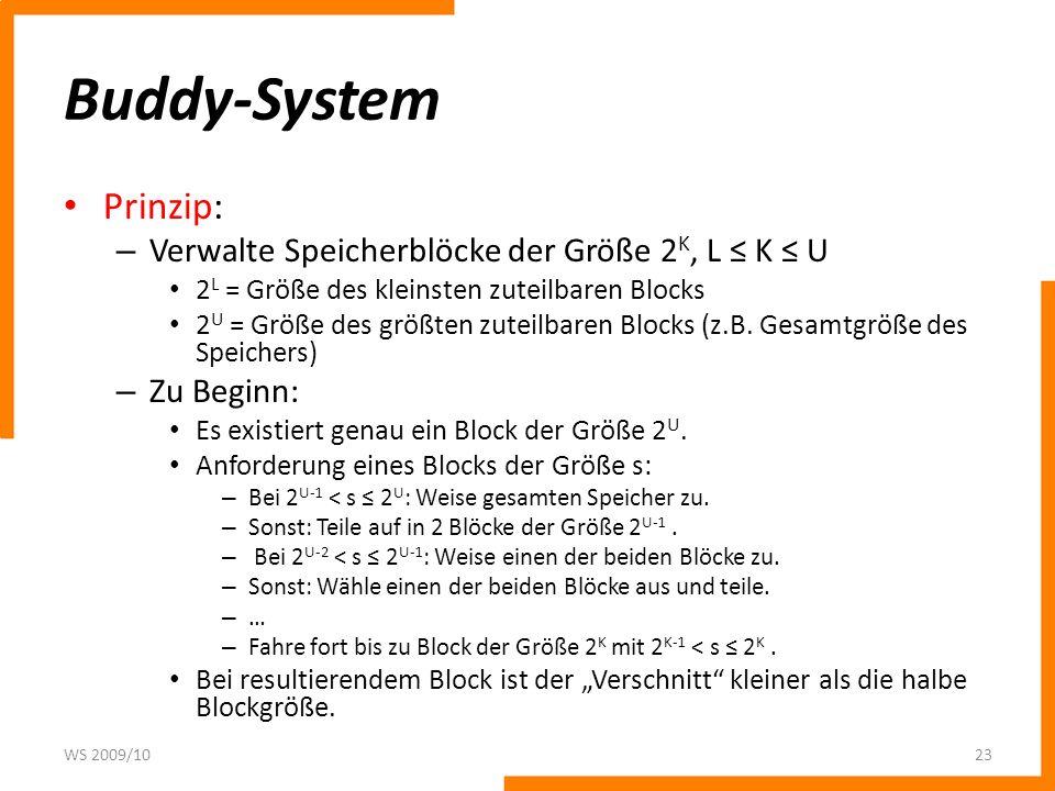 Buddy-System Prinzip: – Verwalte Speicherblöcke der Größe 2 K, L K U 2 L = Größe des kleinsten zuteilbaren Blocks 2 U = Größe des größten zuteilbaren