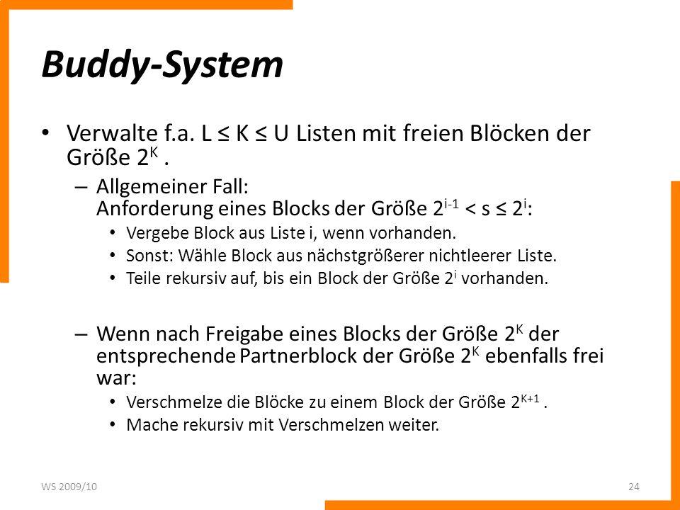 Buddy-System Verwalte f.a. L K U Listen mit freien Blöcken der Größe 2 K. – Allgemeiner Fall: Anforderung eines Blocks der Größe 2 i-1 < s 2 i : Verge