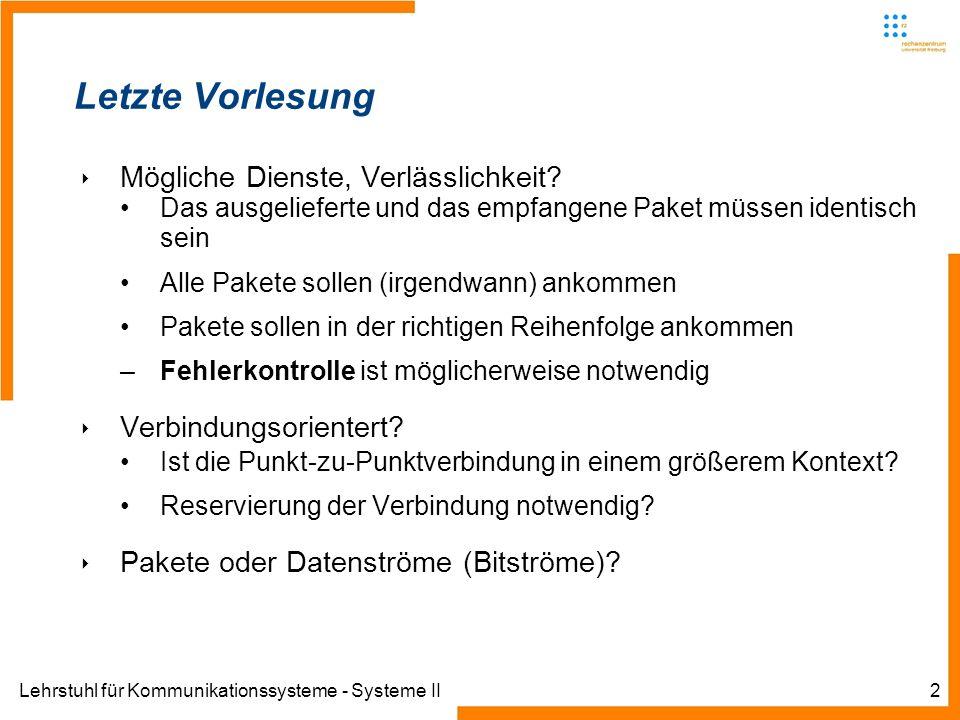 Lehrstuhl für Kommunikationssysteme - Systeme II2 Letzte Vorlesung Mögliche Dienste, Verlässlichkeit.