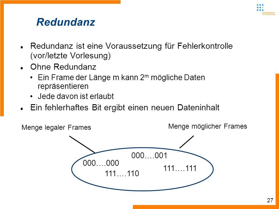 27 000….000 000….001 111….110 111….111 Redundanz Redundanz ist eine Voraussetzung für Fehlerkontrolle (vor/letzte Vorlesung) Ohne Redundanz Ein Frame der Länge m kann 2 m mögliche Daten repräsentieren Jede davon ist erlaubt Ein fehlerhaftes Bit ergibt einen neuen Dateninhalt Menge legaler Frames Menge möglicher Frames