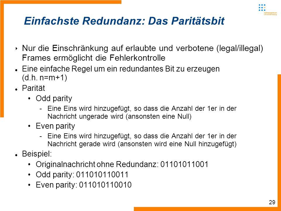 29 Einfachste Redundanz: Das Paritätsbit Nur die Einschränkung auf erlaubte und verbotene (legal/illegal) Frames ermöglicht die Fehlerkontrolle Eine einfache Regel um ein redundantes Bit zu erzeugen (d.h.