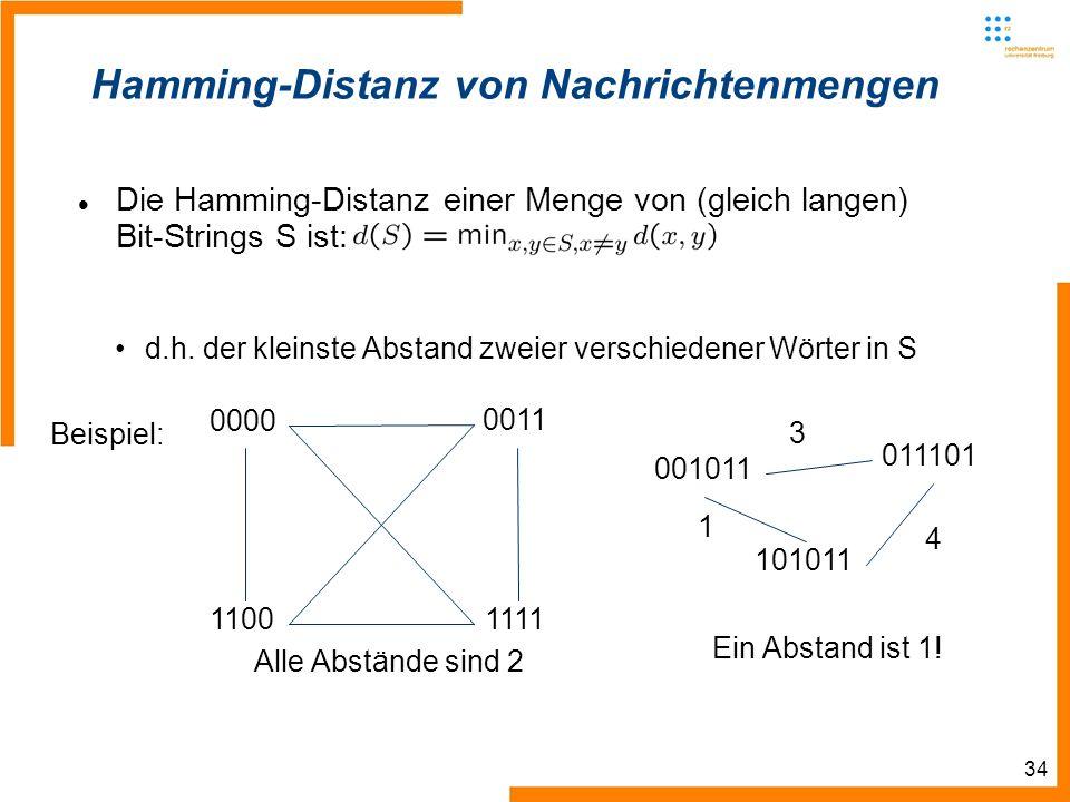 34 Hamming-Distanz von Nachrichtenmengen Die Hamming-Distanz einer Menge von (gleich langen) Bit-Strings S ist: d.h.