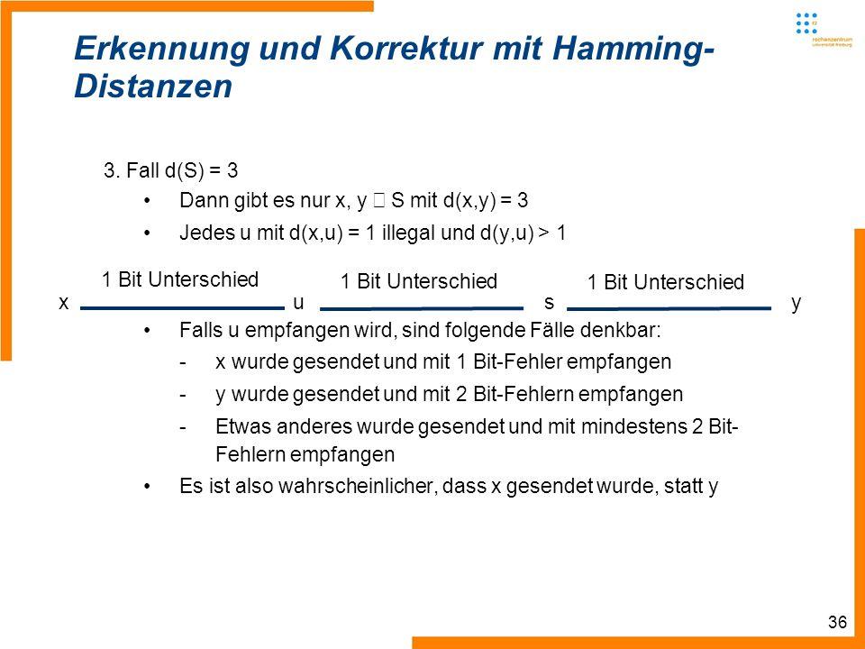 36 Erkennung und Korrektur mit Hamming- Distanzen 3.