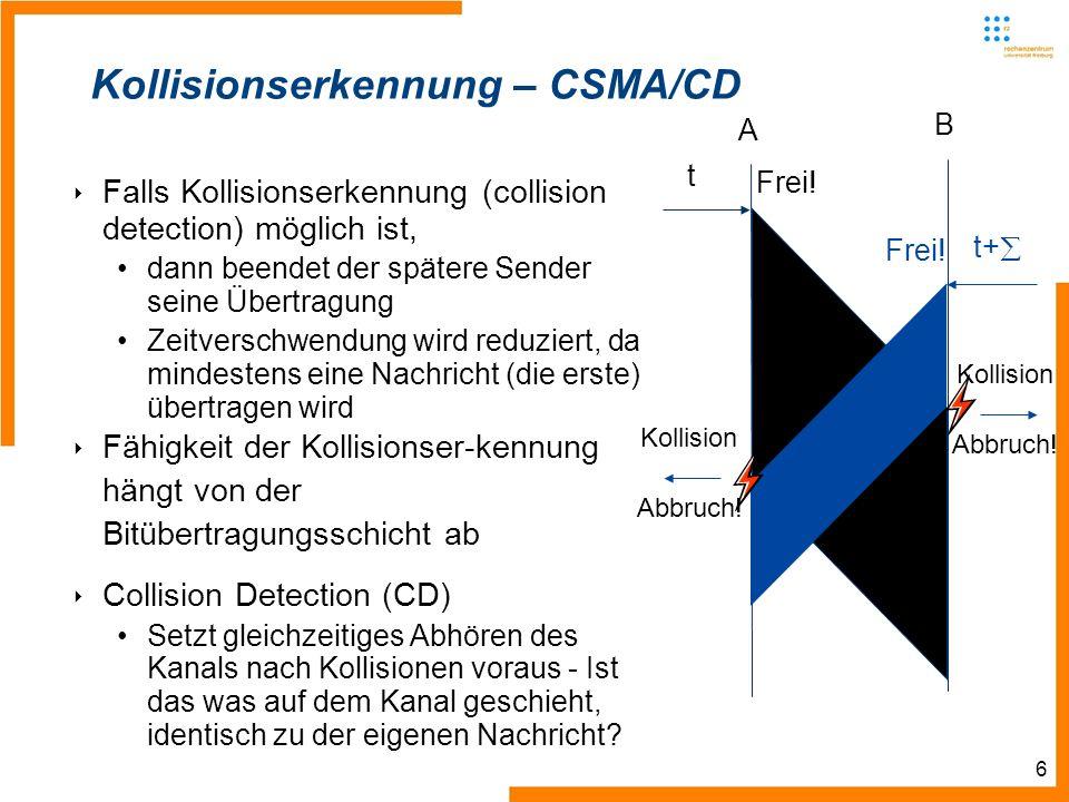 6 Kollisionserkennung – CSMA/CD Falls Kollisionserkennung (collision detection) möglich ist, dann beendet der spätere Sender seine Übertragung Zeitverschwendung wird reduziert, da mindestens eine Nachricht (die erste) übertragen wird Fähigkeit der Kollisionser-kennung hängt von der Bitübertragungsschicht ab Collision Detection (CD) Setzt gleichzeitiges Abhören des Kanals nach Kollisionen voraus - Ist das was auf dem Kanal geschieht, identisch zu der eigenen Nachricht.