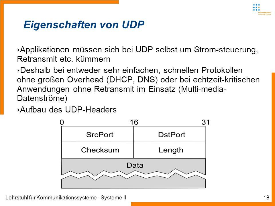 Lehrstuhl für Kommunikationssysteme - Systeme II18 Eigenschaften von UDP Applikationen müssen sich bei UDP selbst um Strom-steuerung, Retransmit etc.