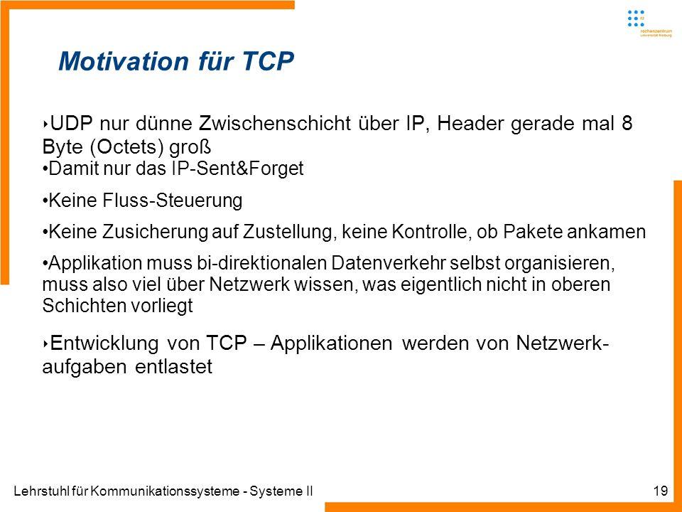 Lehrstuhl für Kommunikationssysteme - Systeme II19 Motivation für TCP UDP nur dünne Zwischenschicht über IP, Header gerade mal 8 Byte (Octets) groß Damit nur das IP-Sent&Forget Keine Fluss-Steuerung Keine Zusicherung auf Zustellung, keine Kontrolle, ob Pakete ankamen Applikation muss bi-direktionalen Datenverkehr selbst organisieren, muss also viel über Netzwerk wissen, was eigentlich nicht in oberen Schichten vorliegt Entwicklung von TCP – Applikationen werden von Netzwerk- aufgaben entlastet
