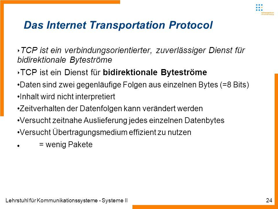 Lehrstuhl für Kommunikationssysteme - Systeme II24 Das Internet Transportation Protocol TCP ist ein verbindungsorientierter, zuverlässiger Dienst für bidirektionale Byteströme TCP ist ein Dienst für bidirektionale Byteströme Daten sind zwei gegenläufige Folgen aus einzelnen Bytes (=8 Bits) Inhalt wird nicht interpretiert Zeitverhalten der Datenfolgen kann verändert werden Versucht zeitnahe Auslieferung jedes einzelnen Datenbytes Versucht Übertragungsmedium effizient zu nutzen = wenig Pakete