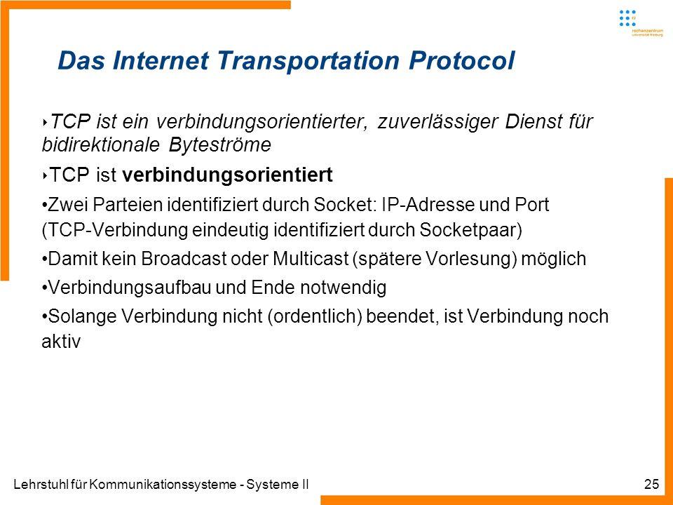 Lehrstuhl für Kommunikationssysteme - Systeme II25 Das Internet Transportation Protocol TCP ist ein verbindungsorientierter, zuverlässiger Dienst für bidirektionale Byteströme TCP ist verbindungsorientiert Zwei Parteien identifiziert durch Socket: IP-Adresse und Port (TCP-Verbindung eindeutig identifiziert durch Socketpaar) Damit kein Broadcast oder Multicast (spätere Vorlesung) möglich Verbindungsaufbau und Ende notwendig Solange Verbindung nicht (ordentlich) beendet, ist Verbindung noch aktiv