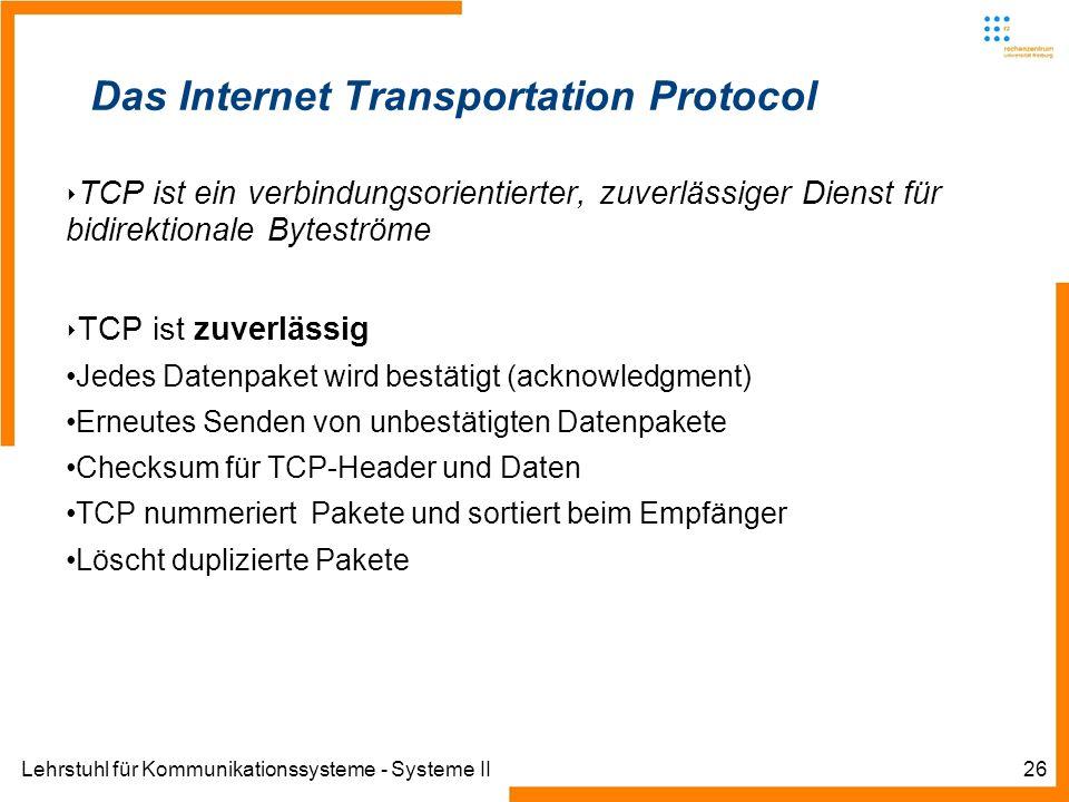 Lehrstuhl für Kommunikationssysteme - Systeme II26 Das Internet Transportation Protocol TCP ist ein verbindungsorientierter, zuverlässiger Dienst für bidirektionale Byteströme TCP ist zuverlässig Jedes Datenpaket wird bestätigt (acknowledgment) Erneutes Senden von unbestätigten Datenpakete Checksum für TCP-Header und Daten TCP nummeriert Pakete und sortiert beim Empfänger Löscht duplizierte Pakete