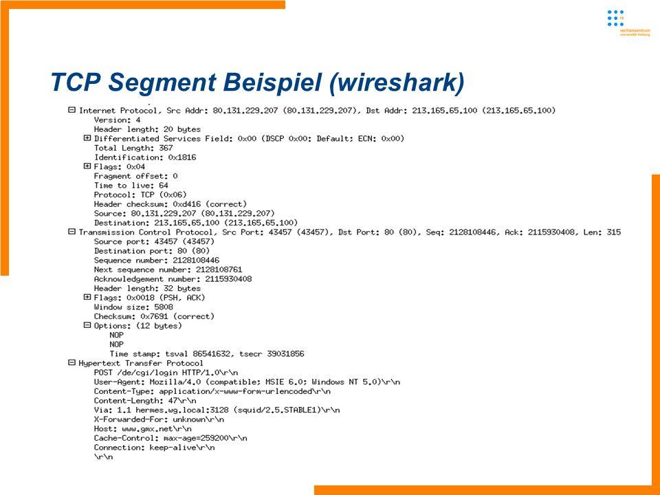 TCP Segment Beispiel (wireshark)