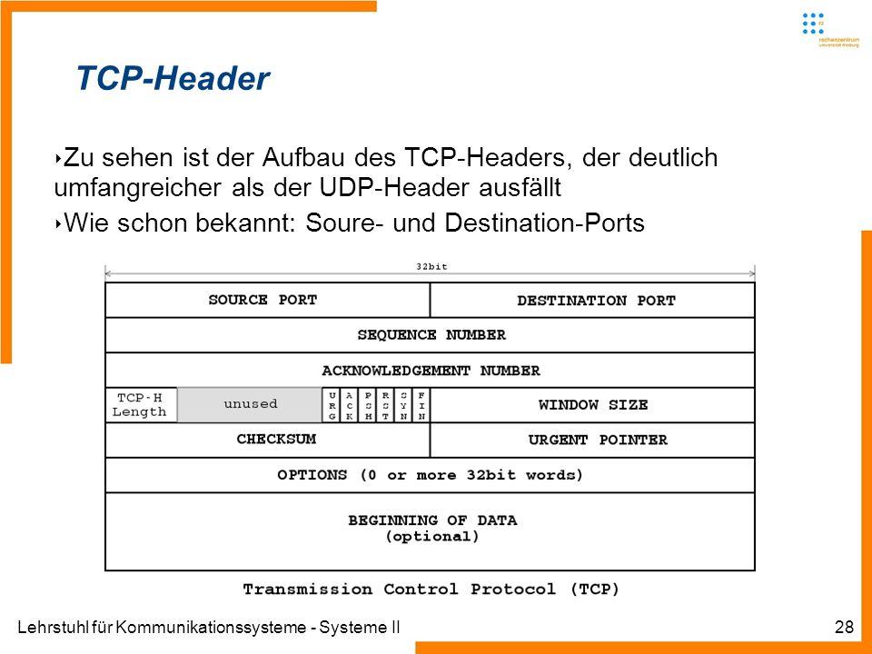 Lehrstuhl für Kommunikationssysteme - Systeme II28 TCP-Header Zu sehen ist der Aufbau des TCP-Headers, der deutlich umfangreicher als der UDP-Header ausfällt Wie schon bekannt: Soure- und Destination-Ports