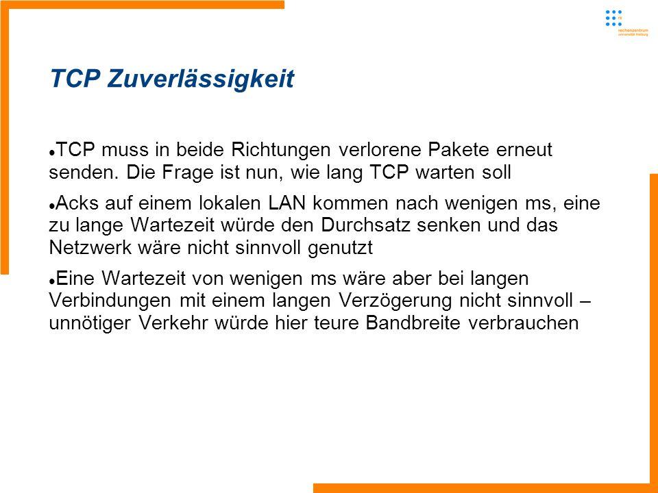 TCP muss in beide Richtungen verlorene Pakete erneut senden.