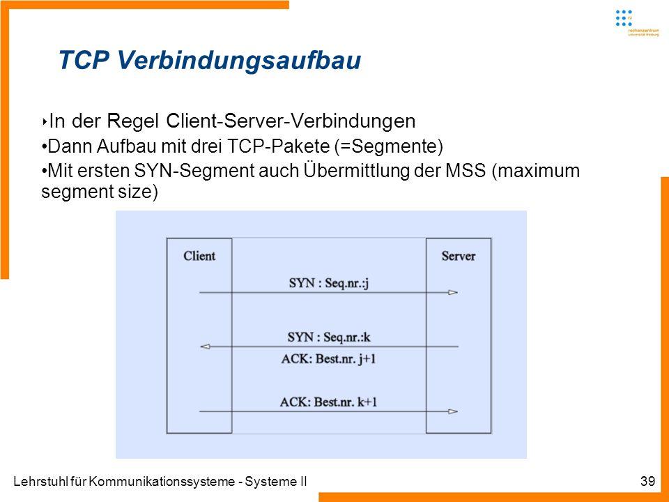 Lehrstuhl für Kommunikationssysteme - Systeme II39 TCP Verbindungsaufbau In der Regel Client-Server-Verbindungen Dann Aufbau mit drei TCP-Pakete (=Segmente) Mit ersten SYN-Segment auch Übermittlung der MSS (maximum segment size)