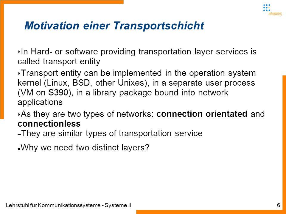 Lehrstuhl für Kommunikationssysteme - Systeme II7 Motivation einer Transportschicht Betrachte die folgenden Fragen: Wenn das Netzwerk verbindungsorientiert betrieben wird: Was passiert, wenn Router regelmäßig abstürzen.