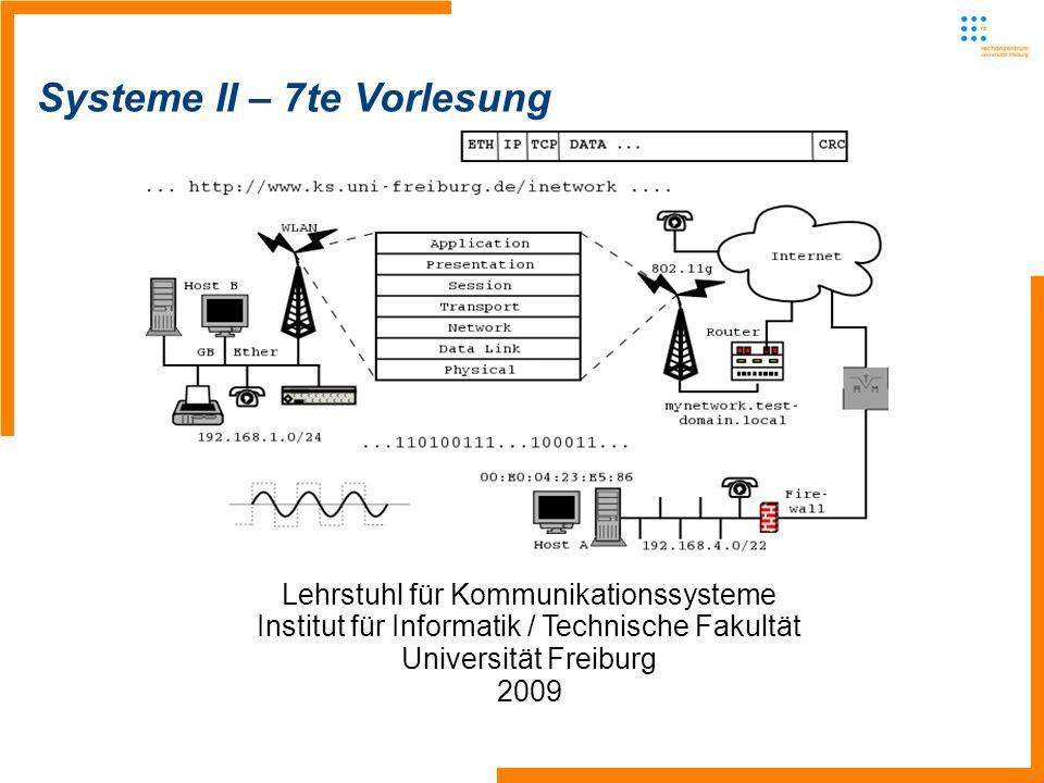 Lehrstuhl für Kommunikationssysteme - Systeme II2 Letzte Vorlesung Abschluss Dynamisches IP-Routing Zentraler Algorithmus, Distance Vector -Arbeitet lokal in jedem Router -Verbreitet lokale Information im Netzwerk -Einer/jeder kennt alle Information, muss diese erfahren Optimale Bestimmung der Weglängen zwischen einzelnen Knoten im Netz Hierzu: Shortest Path Umgesetzt mit Dijkstras Algorithmus Generieren eines Graphen des (Teil-)Netzes, wobei jeder Knoten einen Router und jeder Verbindungsstrich einen Link repräsentiert