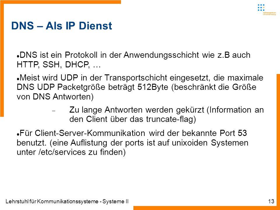 Lehrstuhl für Kommunikationssysteme - Systeme II13 DNS – Als IP Dienst DNS ist ein Protokoll in der Anwendungsschicht wie z.B auch HTTP, SSH, DHCP, … Meist wird UDP in der Transportschicht eingesetzt, die maximale DNS UDP Packetgröße beträgt 512Byte (beschränkt die Größe von DNS Antworten) Zu lange Antworten werden gekürzt (Information an den Client über das truncate-flag) Für Client-Server-Kommunikation wird der bekannte Port 53 benutzt.